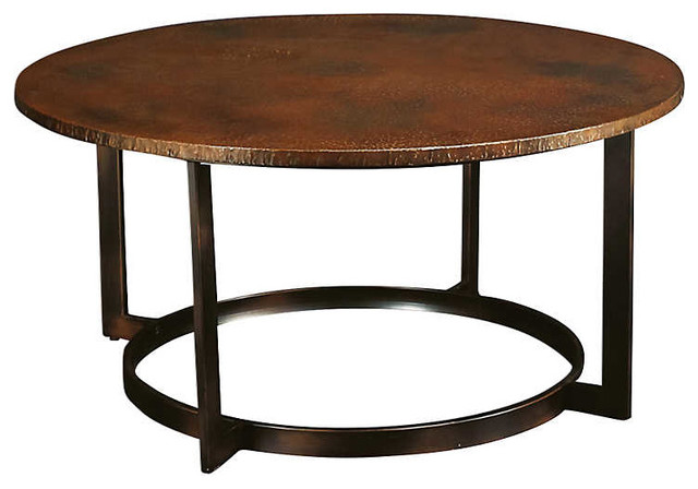 Nueva Round Cocktail Table By Hammary, Aged Copper
