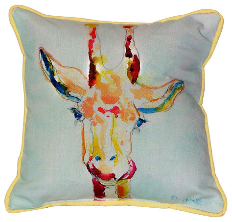 Betsy Drake Giraffe Indoor/Outdoor Pillow, Large - Eclectic ...