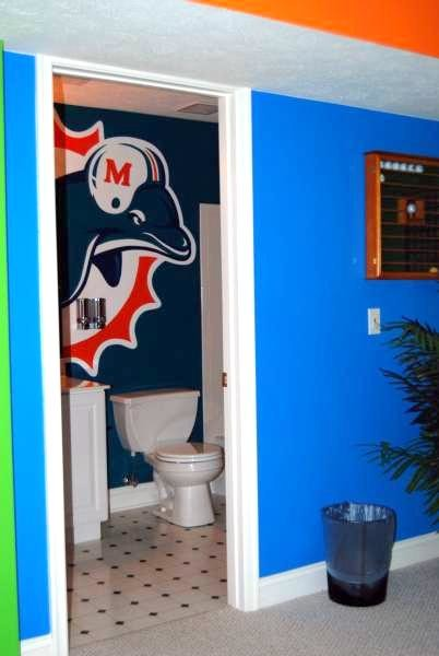 miami dolphins mural in a bathroom by tom taylor of art llc traditional powder miami bathroom accessories miami - Bathroom Accessories Miami