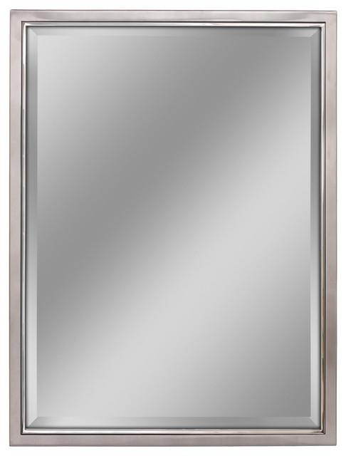 Classic Brush Nickel Chrome Wall Mirror, White Bathroom Mirror 30 X 40