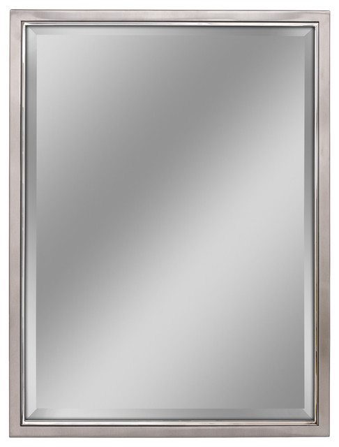 Classic Brush Nickel/chrome Wall Mirror, 30 X 40.