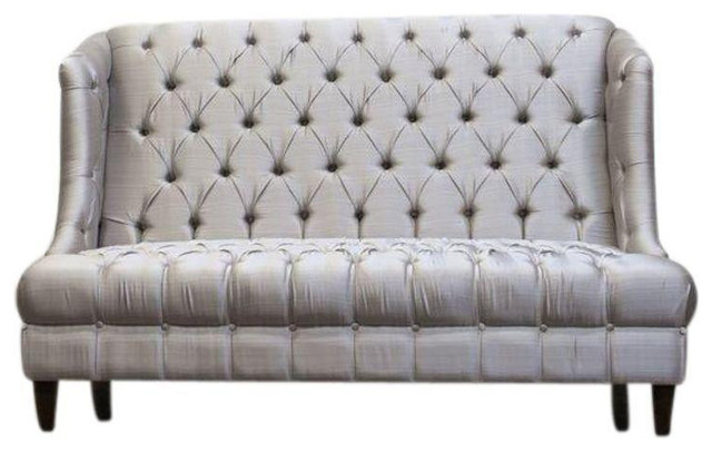 Beautiful High Back Silver Tufted Settee   $3,000 Est. Retail   $1,500 On Chairish.com