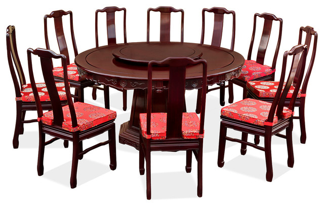 60in rosewood round dining table set with 10 chairs asian dining sets by china furniture. Black Bedroom Furniture Sets. Home Design Ideas