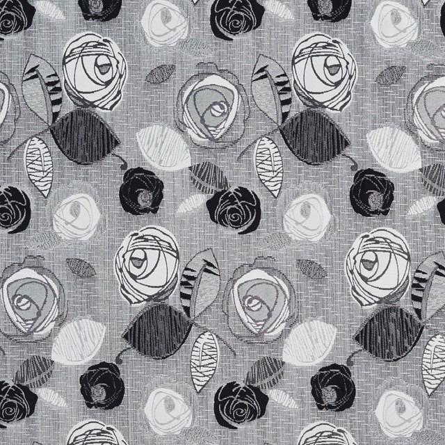 Black And Silver Contemporary Roses Metallic Upholstery Fabric By The Yard
