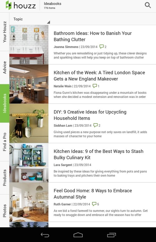How do i update the houzz app Houzz design app