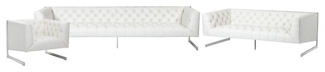 Sunpan Club Collection Viper 3-Piece Livingroom Set, White Leather