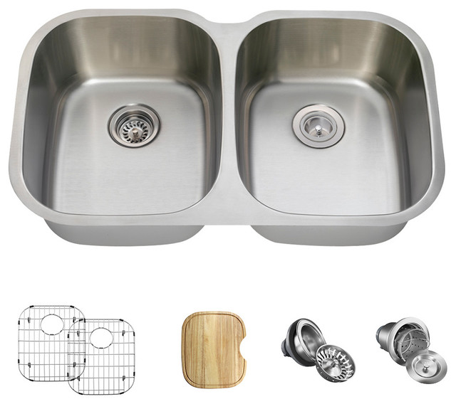 Equal Double Bowl Stainless Steel Kitchen Sink, 16-Gauge, Ensemble