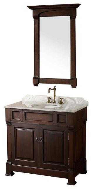 "Wyndham Collection 36"" Andover Single Sink Bathroom Vanity Set, Dark Cherry."