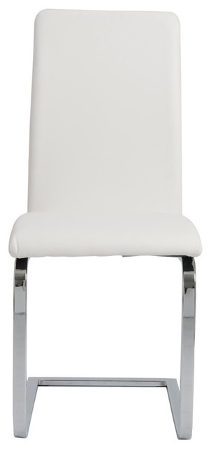 Cinzia Side Chairs, Set of 2, White/Chrome