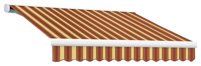 14&x27; Key West Cassette Left Motor Retractable Awning, Burgundy And Tan Wide.