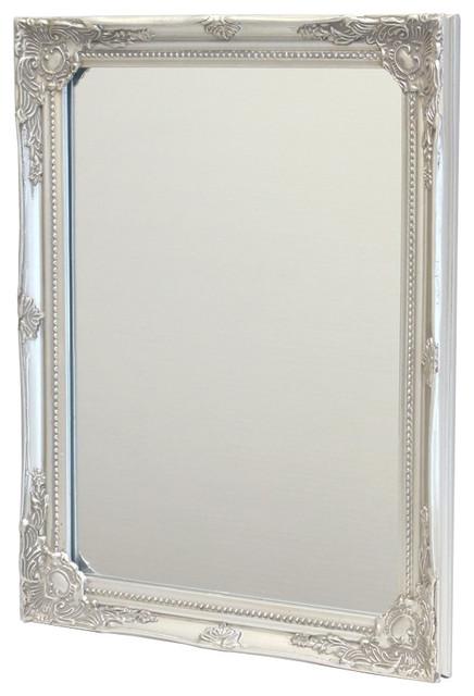 """Antique Silver Rectangular Wall Mirror """"baroque""""."""