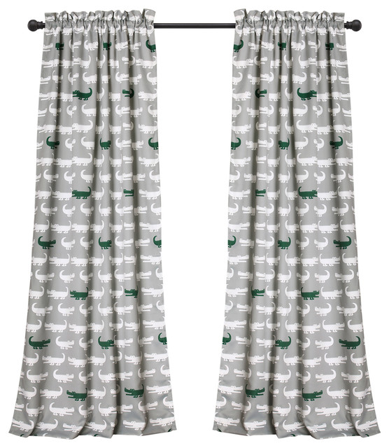 Alligator Room Darkening Window Curtain Set, Gray/green.