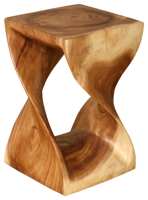 Twisting natural wood side table acacia