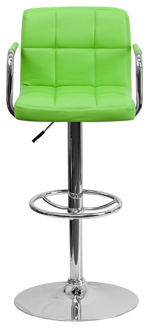Offex Green Quilted Vinyl Adjustable Height Bar Stool With