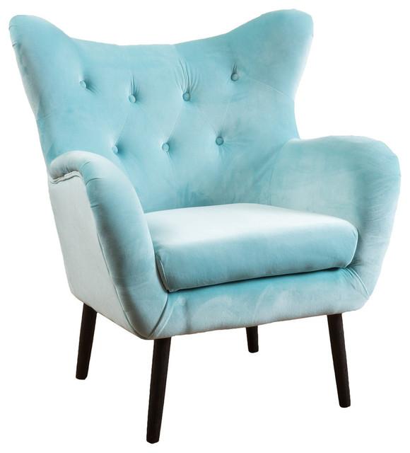 GDF Studio Danielle Light Blue Velvet Arm Chair