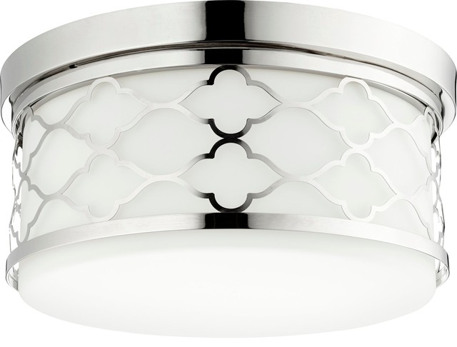 Quorum 14 Trellis Ceiling Mount, Polished Nickel.