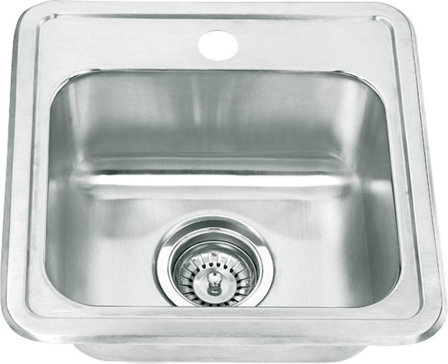 22-Gauge Stainless Steel Drop, Bar Sink, Silver.