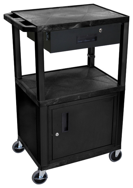 Luxor Multipurpose Utility Cart With Cabinet And Drawer, Black Contemporary  Office Carts