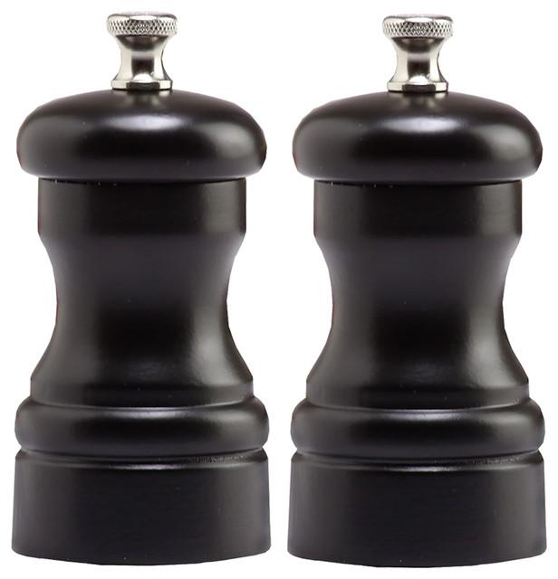 "Chef Specialties Pro Series Capstan Pepper Mill and Salt Mill Set, 4"", Black"