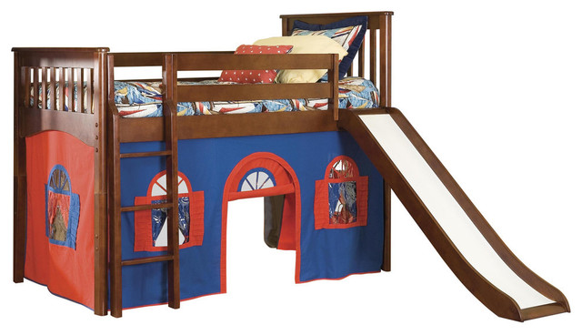 Mission Twin Low Loft Bed Cherry With Blue Red Playhouse Curtain