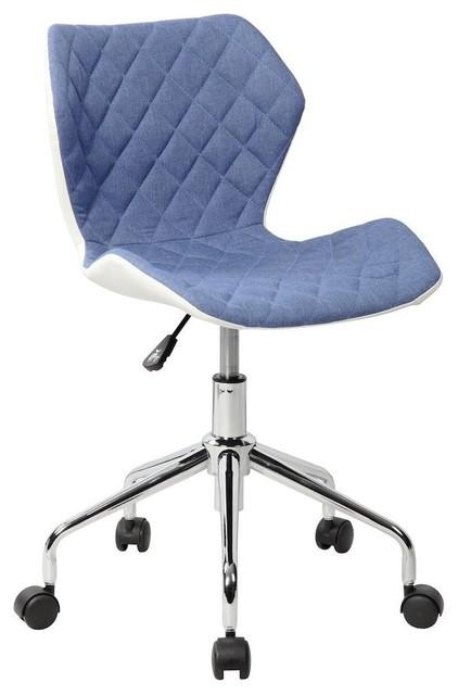 Gentil Techni Mobili Modern Height Adjustable Office Task Chair, Blue