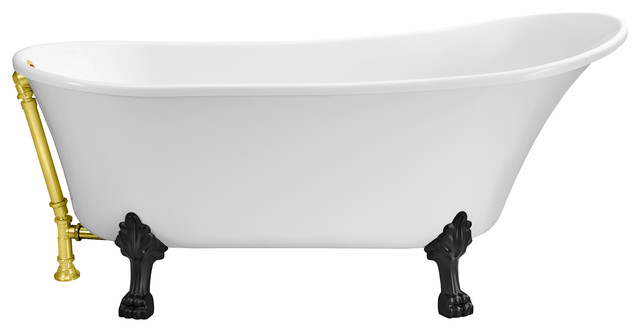 """Streamline 67"""" Soaking Clawfoot Tub With External Drain, Polished Gold."""