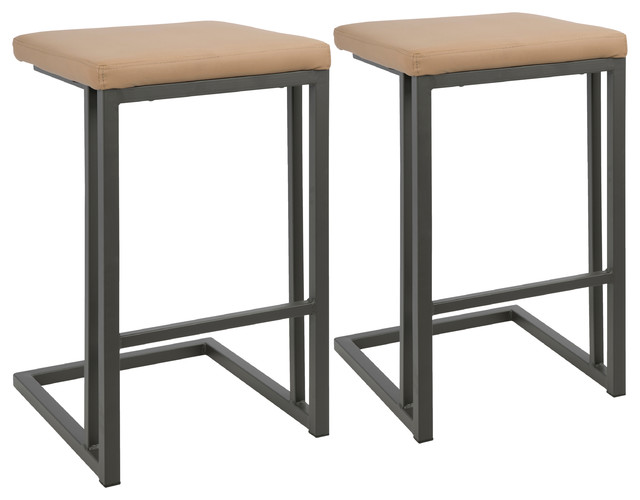 LumiSource Roman Counter Stool With Gray Frame and Camel PU Leather, Set of 2