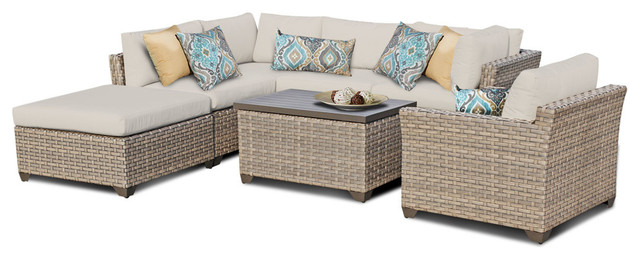 Monterey 7 Piece Outdoor Wicker Patio Furniture Set 07d Tropical
