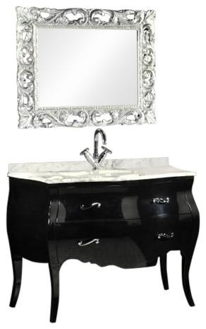 Baroque Bathroom Vanity Unit, Black, 115 cm