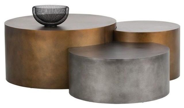 Bon Sunpan Ikon Neo, Coffee Tables, Brass, 3 Piece Set