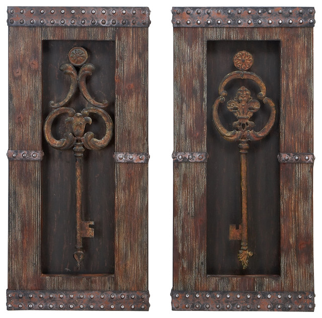 Wood And Metal Wall Art keys wall decor, 2-piece set - traditional - metal wall art -