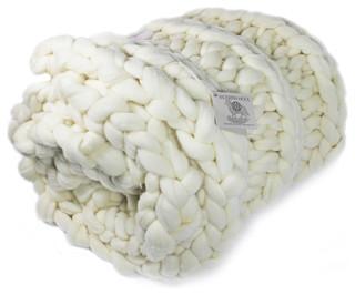 Chunky Knit Throw Blanket, White