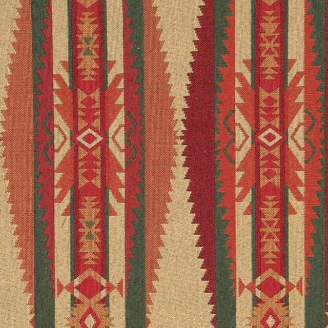 Red, Green, Biege and Orange Southwest Style Upholstery Fabric By The Yard