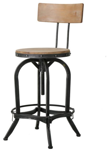 GDF Studio Modern Industrial Design Adjustable Seat Height Bar/Counter Stool