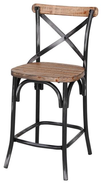 Rustic Iron Reclaimed Pine Wood Counter Stool Black
