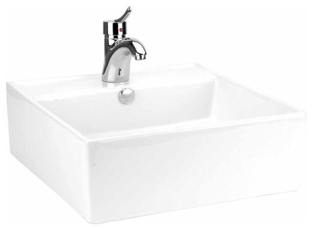 Bathroom Vessel Sink White China Bostonian Square Traditional Bathroom Sinks