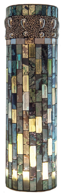 """10.75"""" Bluebell Lit Mosaic Vase With LED Lights traditional-vases"""