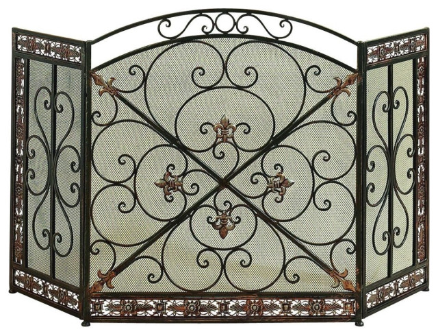 3 Panel Metal Fire Screen With Traditional Design, Bronze
