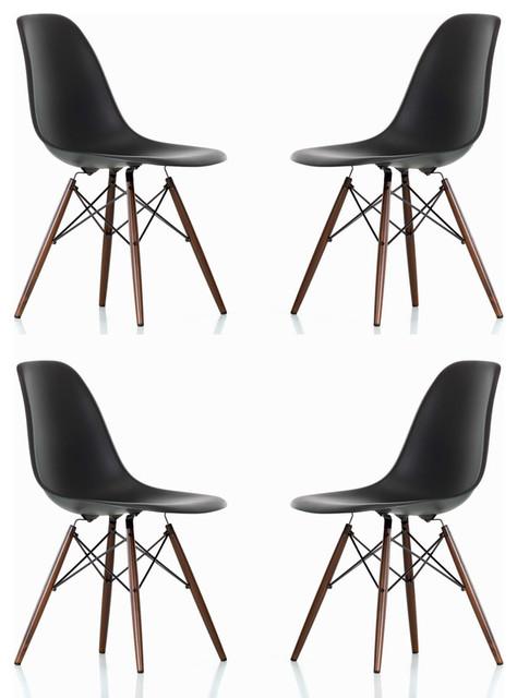 DSW Black Mid Century Modern Plastic Dining Shell Chair W
