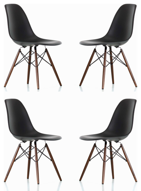 dsw black mid century modern plastic dining shell chair w  dark walnut wood eiffe