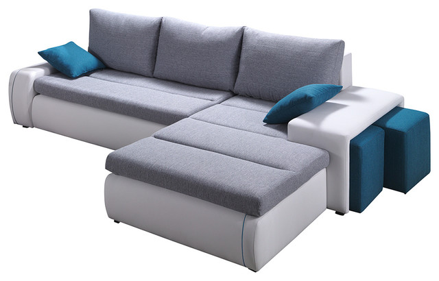 Ritmo Sectional Sofa-Bed, Grey/White, Right Corner