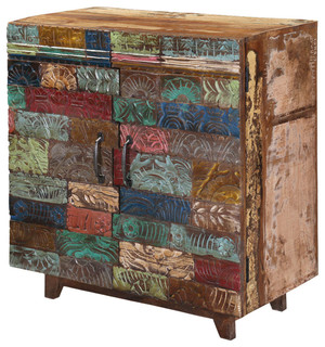 Superb Rainbow Hand Carved Wooden Tile Reclaimed Wood Rustic Storage Cabinet    Rustic   Storage Cabinets   By Sierra Living Concepts