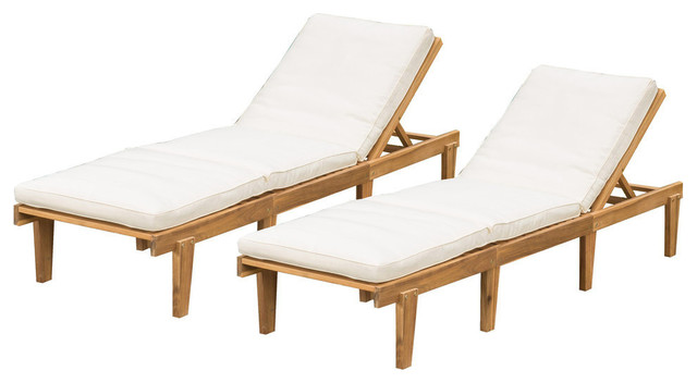GDF Studio Paolo Outdoor Teak Brown Wood Chaise Lounge With Cushions, Set of 2