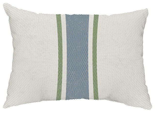 "Grain Sack 14""x20"" Decorative Outdoor Pillow, Navy Blue"