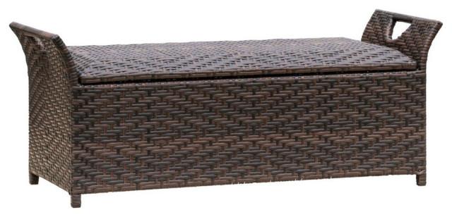 GDF Studio Izidora Outdoor Brown Wicker Storage Ottoman