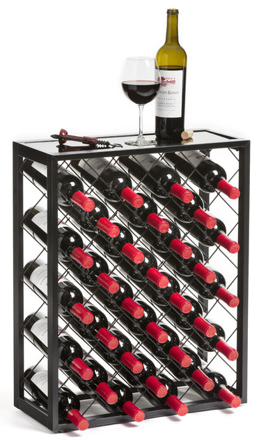 Mango Steam Wine Rack With Glass Table Top, 32 Bottle