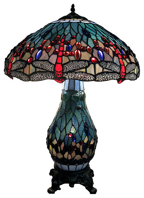 Tiffany Style Dragonfly Lamp With Lighted Base