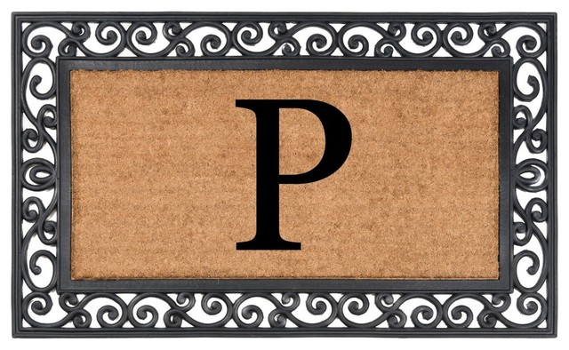 Classic Monogrammed Rubber Welcome Mat, P.