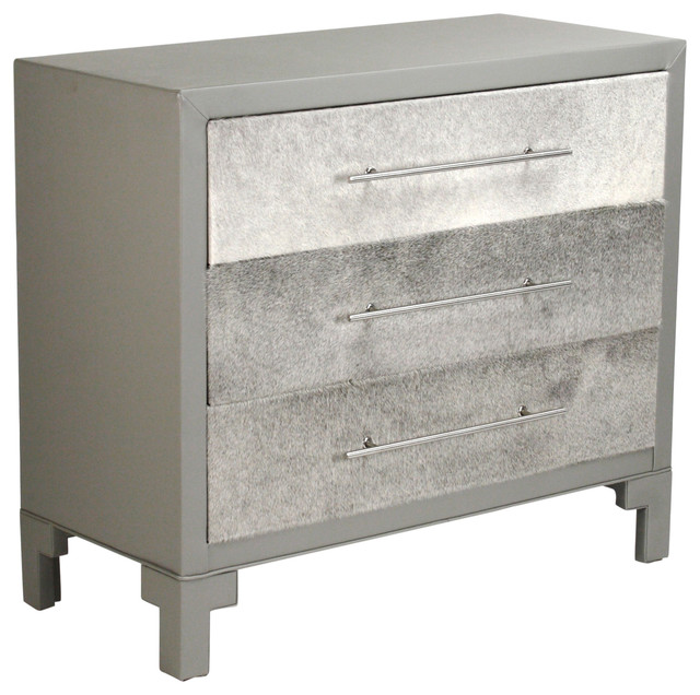 Ginnifer Hollywood Dark Gray Upholstered Faux Fur Drawer Dresser