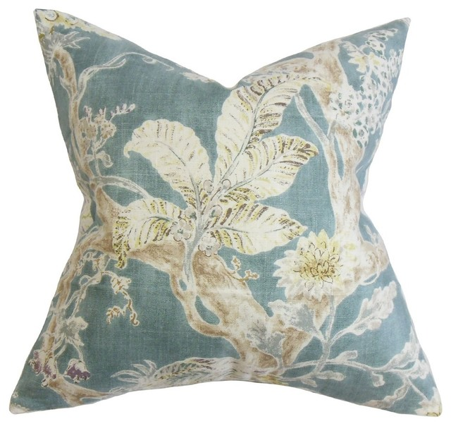 "Satriya Floral Pillow Blue, 24""x24""."